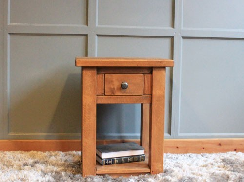 H&F Plank 1 Drawer Lamp Table with Shelf