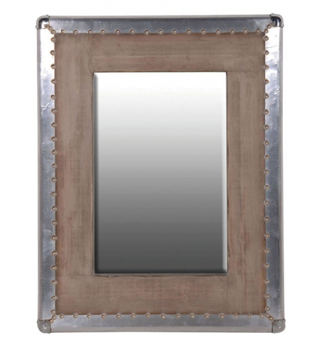 Small Silver Trim Wood Mirror