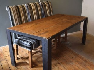 H&F Plank Industrial Dining Table