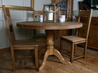 H&F Plank Pedestal Dining Table