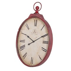 H&F Red Oval Clock