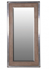 Large Silver Trim Wood Mirror