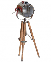 Small Wooden and Nickel Tripod Lamp