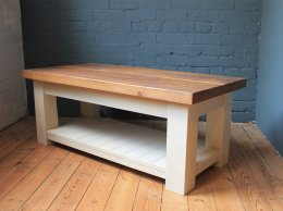 EXDISPLAY H&F Plank Coffee Table with Shelf 4ft x 2ft