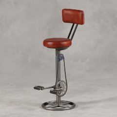 **INSTOCK** Leather & Iron Pedal Bar Stool with Back Rest
