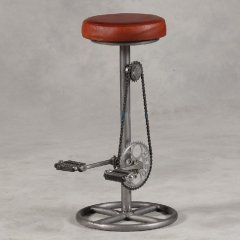 **INSTOCK** Leather and Iron Pedal Bar Stool
