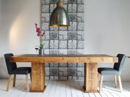 H&F Plank Butchers Cube Dining Table