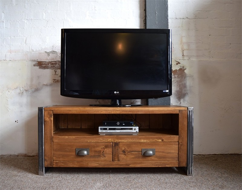 H&F Plank Industrial 2 Drawer Plasma Tv Unit