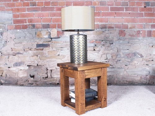 H&F Plank Lamp Table with Shelf