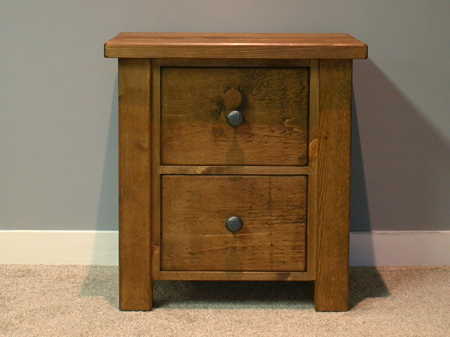 H&F Plank Chunky 2 Drawer Bedside